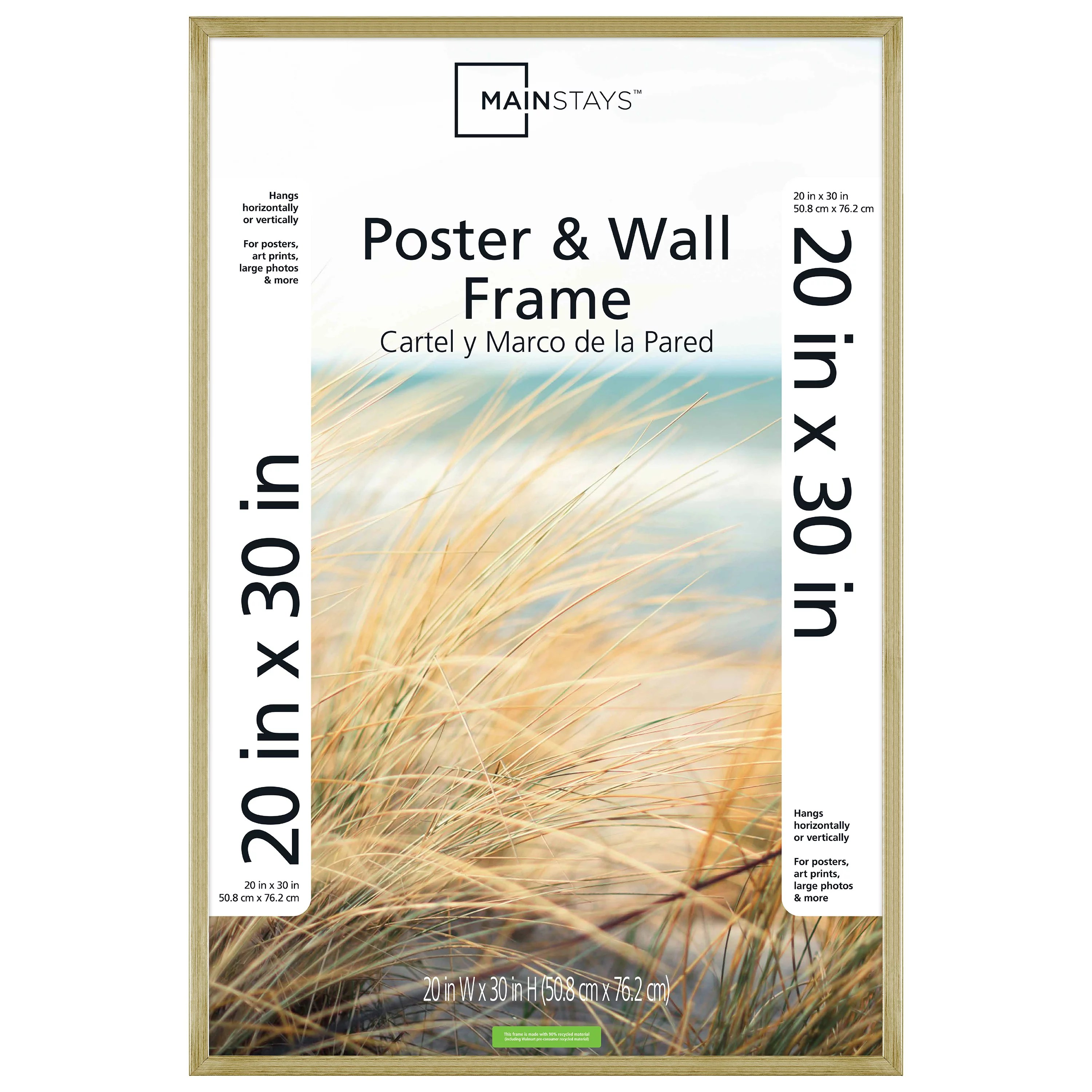 mainstays 20 x30 brass metallic poster and picture frame walmart com