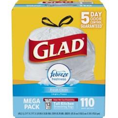 Glad Kitchen Bags Cabinets Online Design Odorshield Tall Drawstring Trash Febreze Fresh Clean 13 Gallon 110 Ct Walmart Com