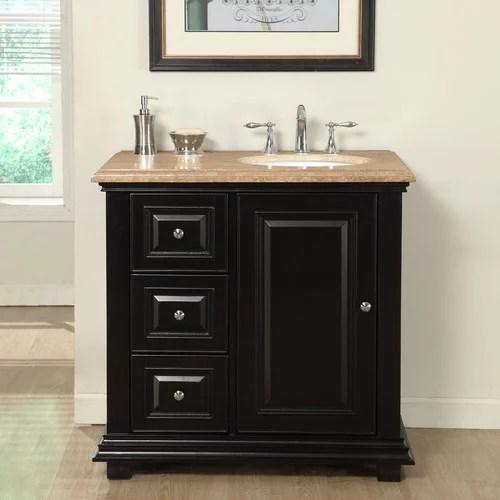 silkroad exclusive 36 single bathroom vanity set with sink on right side