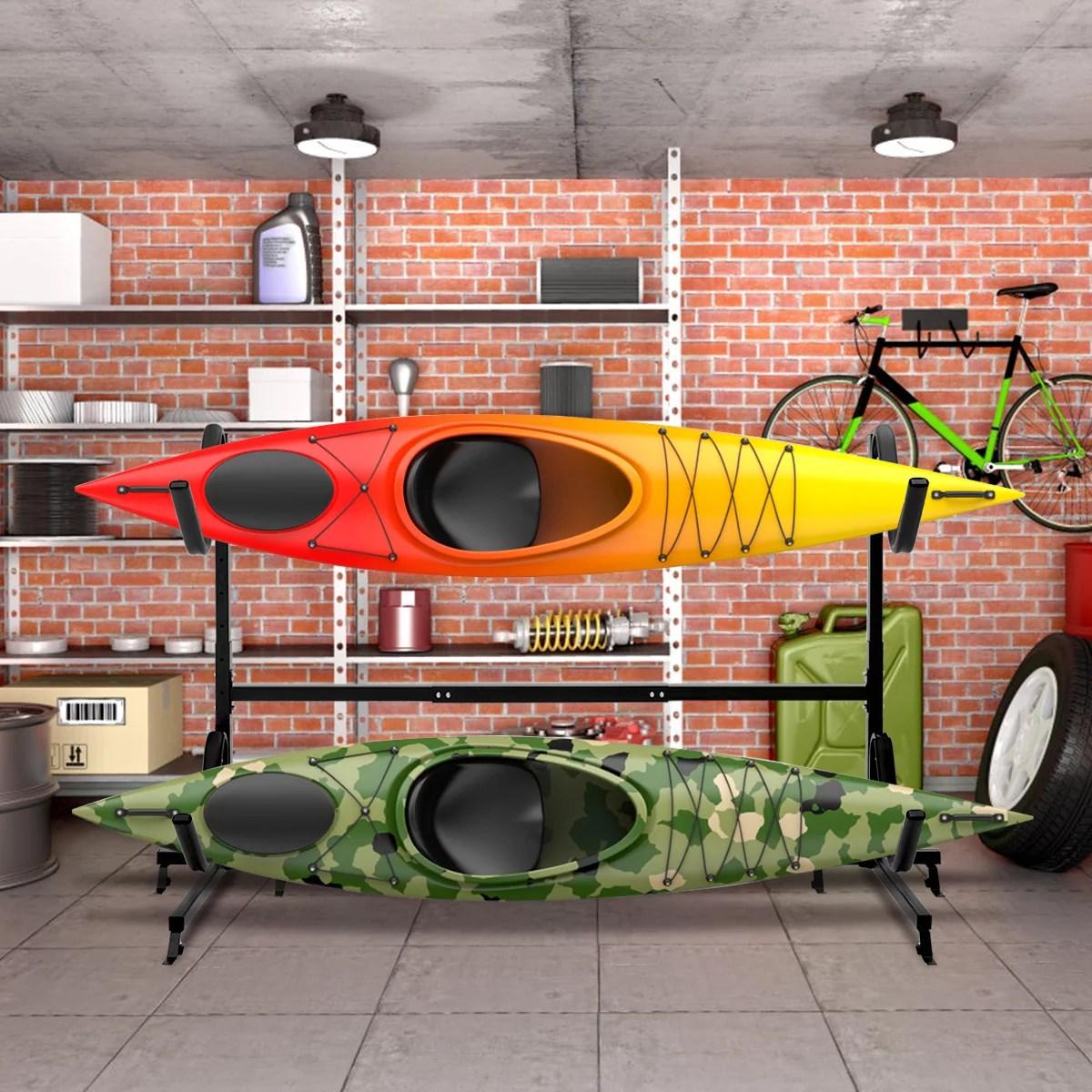 costway heavy duty freestanding kayak rack dual storage rack for sup height adjustable