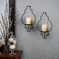 Set of 2 Hanging LED Candle Flameless Hurricane Glass ...