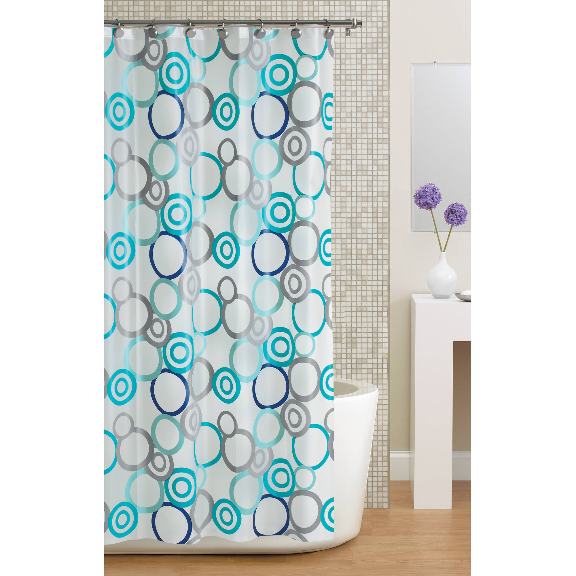 Mainstays Circles PEVA Shower Curtain Frosty Walmart Com