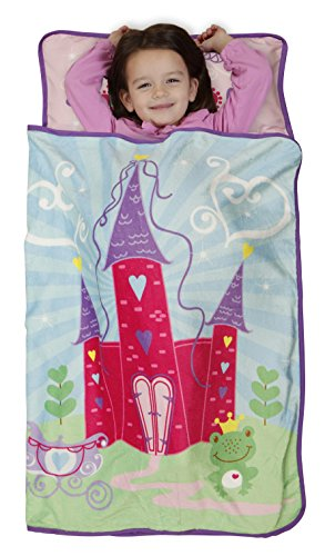 funhouse pink princess kids nap mat set includes pillow and fleece blanket great for girls sleeping at daycare preschool or kindergarten fits