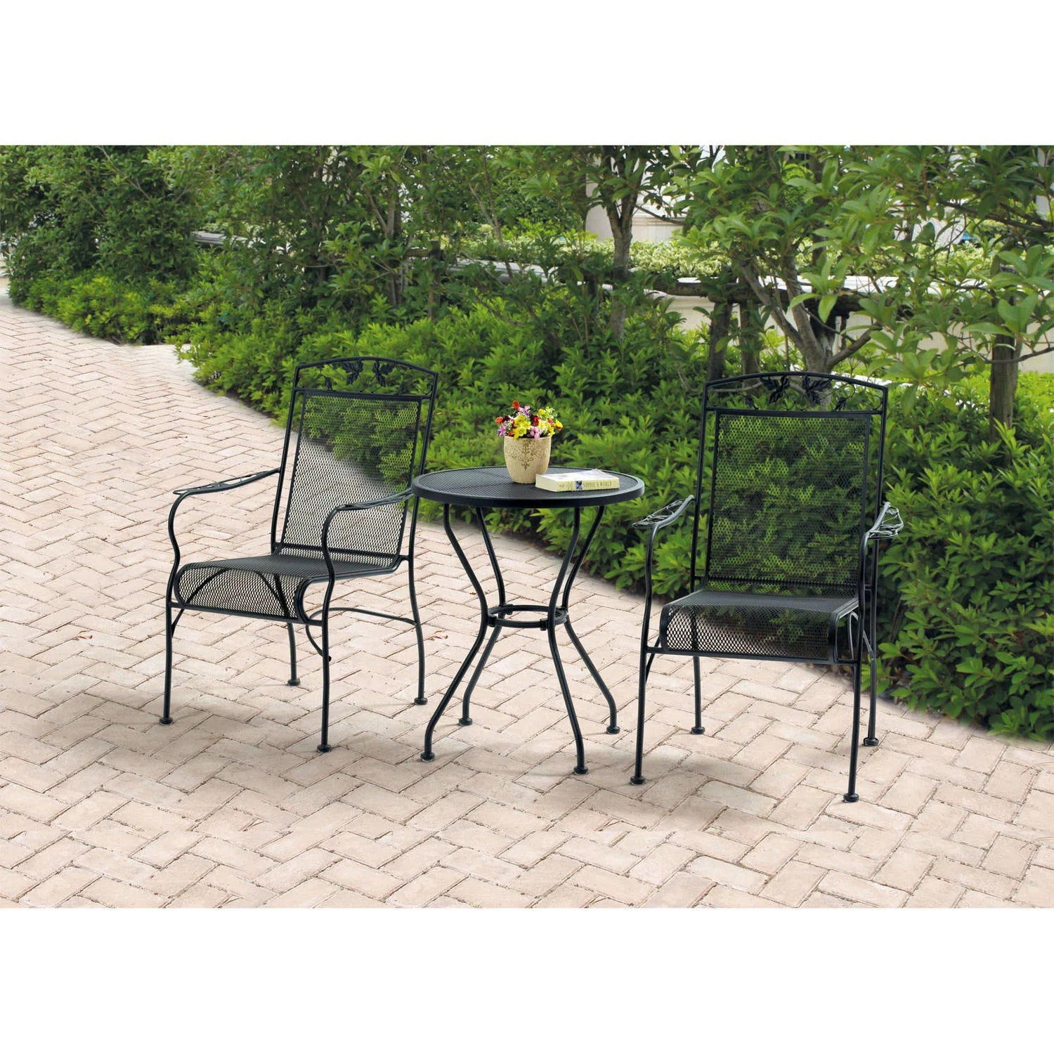 3 piece outdoor table and chairs stool chair pouf mainstays jefferson wrought iron bistro set black seats 2 walmart com