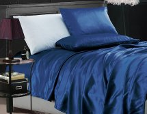 4-piece Bridal Satin Solid Color Sheet Set Queen Navy
