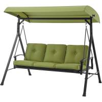 Metal Porch Swing Bed With Canopy Outdoor Patio Rocker ...