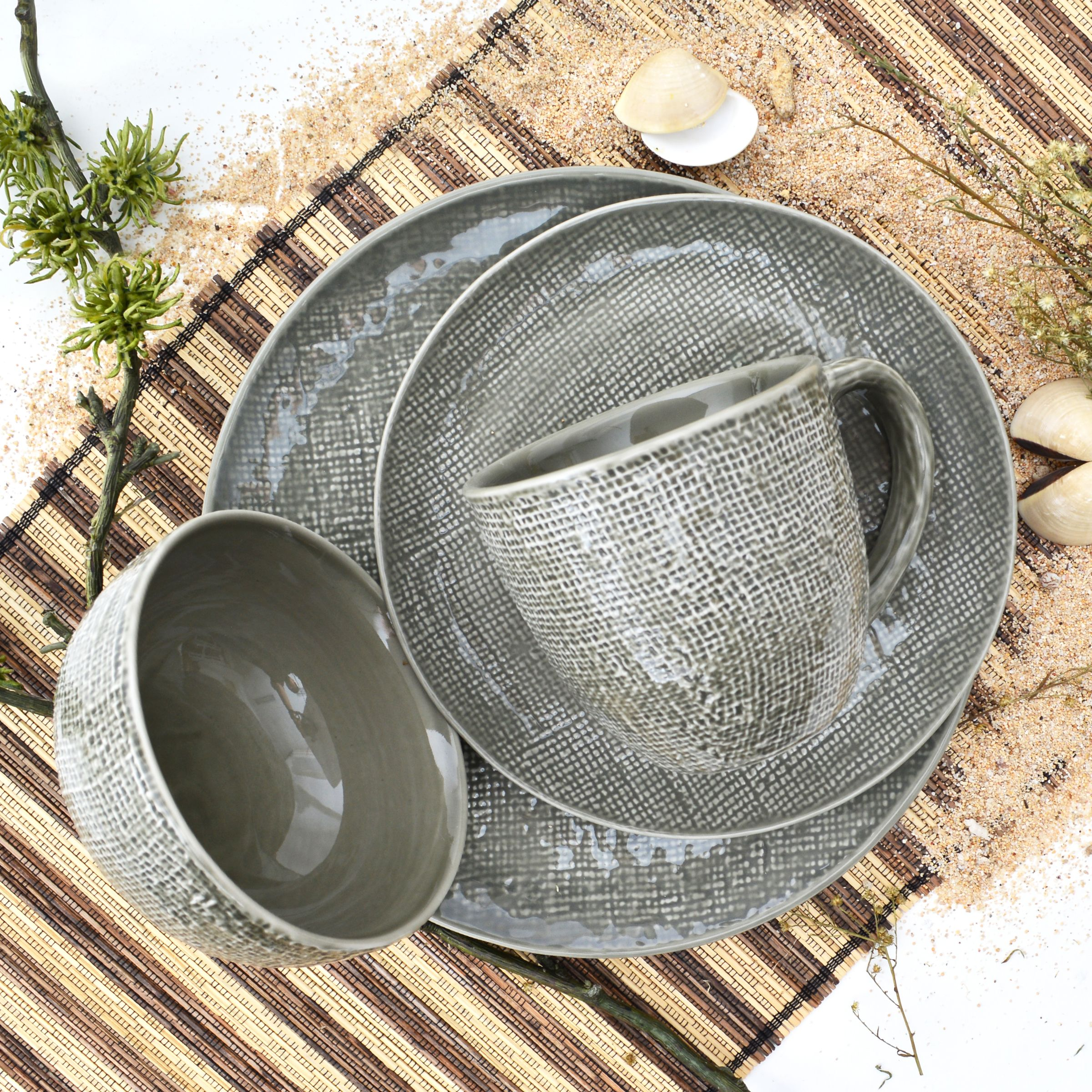 sango kain taupe 16 piece dinnerware set service for 4