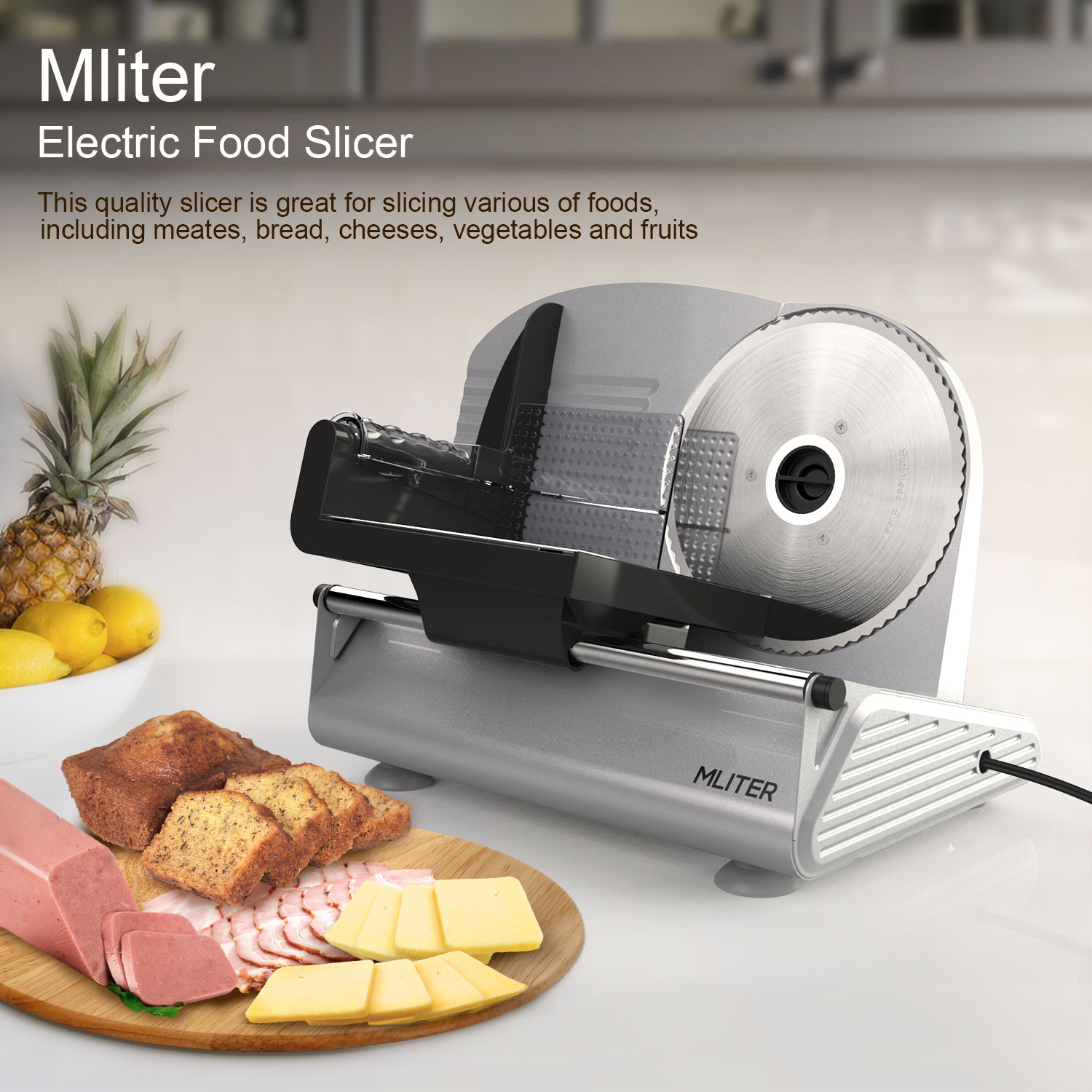 kitchen food slicer distressed wood table 7 5 inch blade mliter electric meat vegetable precision cheese deli stainless bread cutter home 150 watt walmart com