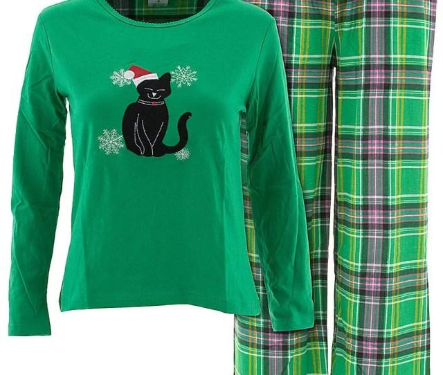 Emily Stacy Emily Stacy Womens Santa Cat Green Christmas Cotton Pajamas Walmart Com