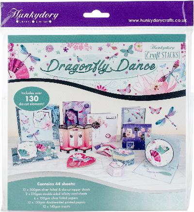 Hunkydory Craft Stack Paper Pad 8 X8 44 Pkg Dragonfly