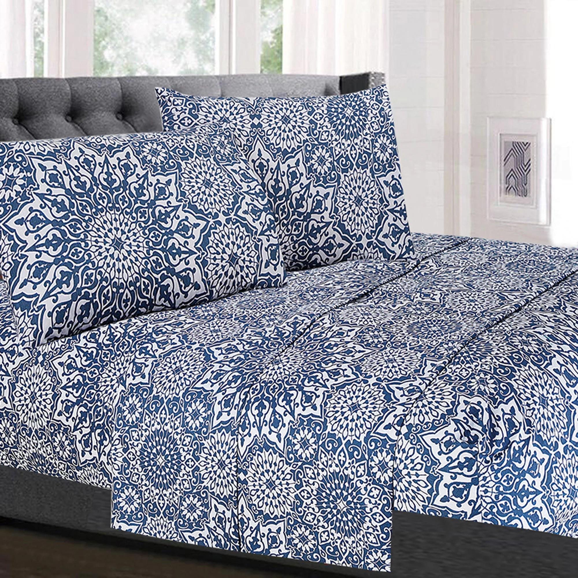 Oasis Blue Mandala Pattern 4 Piece Thread Count Sheet Set