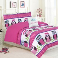 Girls Bedding Queen 4 Piece Comforter Bed Set, Owl Pink ...
