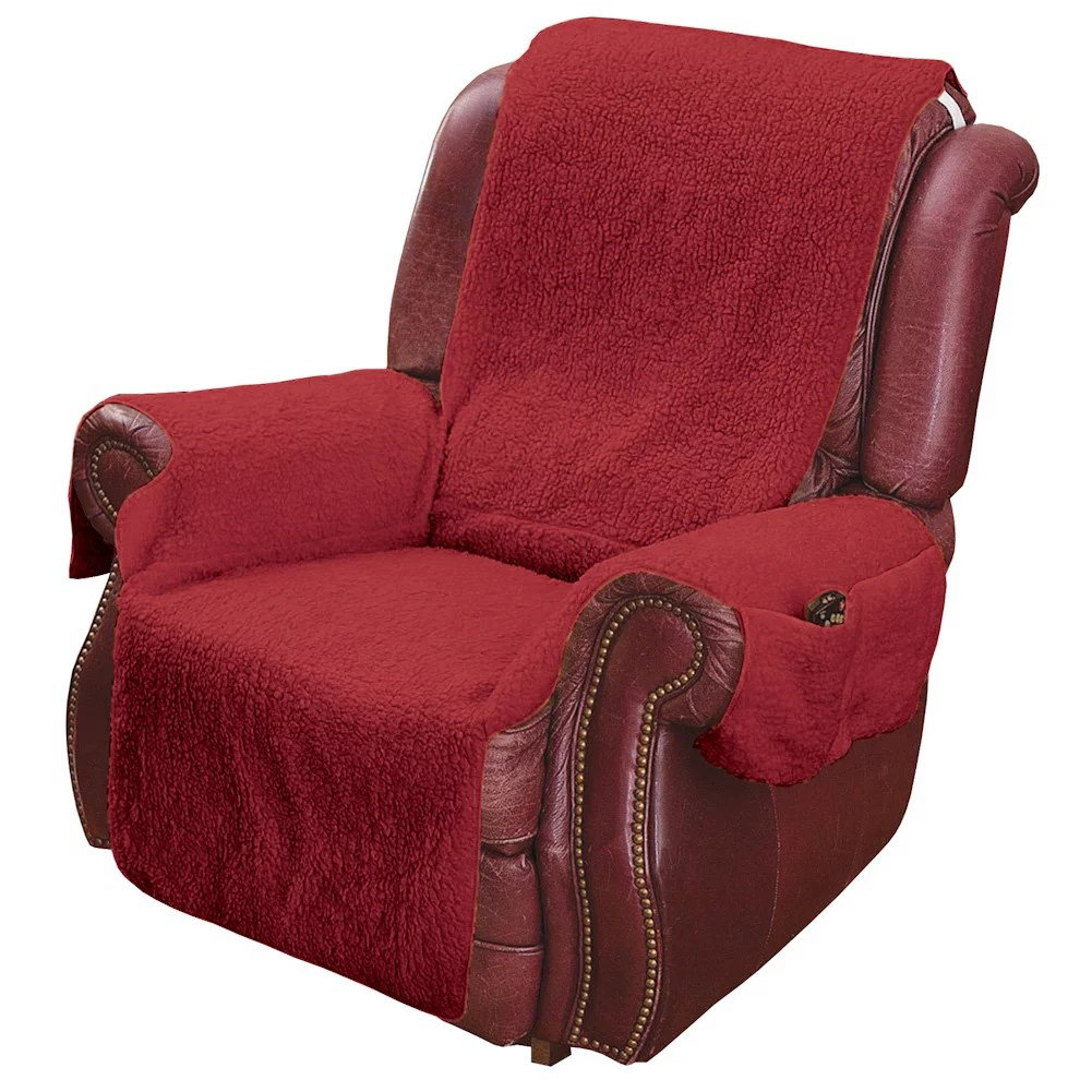 leather chair covers to buy chairs for girl bedroom recliner cover protector with pockets remotes and cellphones walmart com