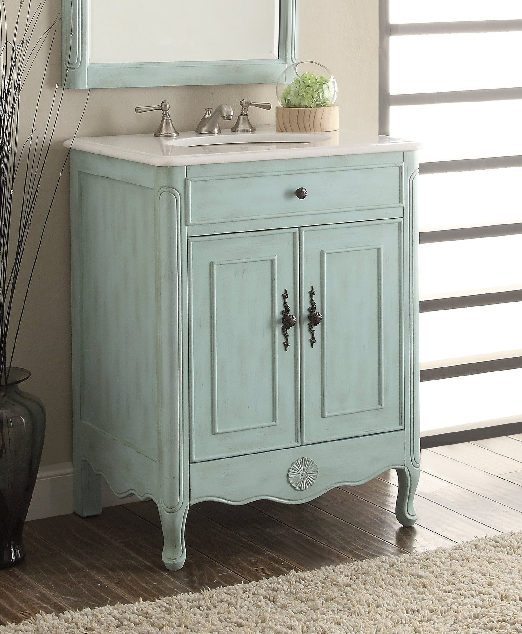 26 Benton Collection Daleville Light Blue Vintage Bathroom Vanity Hf 838lb Walmart Com Walmart Com