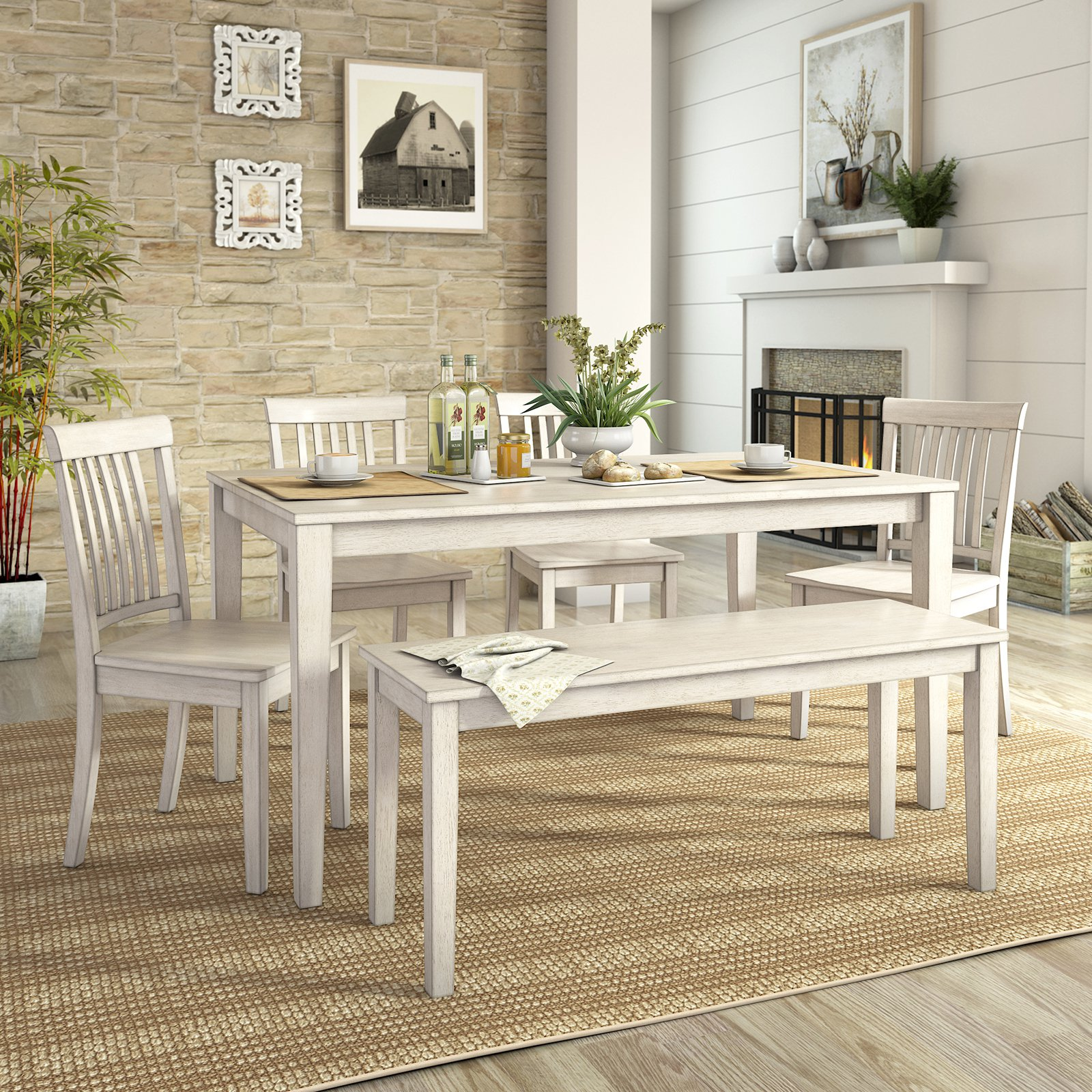 Lexington Large Dining Set With Bench And 4 Mission Back