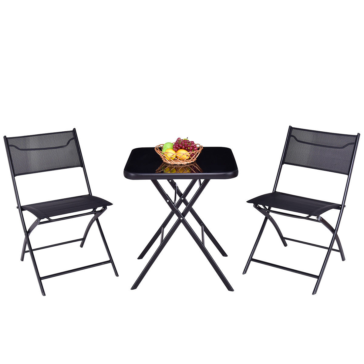 foldable table and chairs garden dining chair covers india gymax folding 3pc set square outdoor patio walmart com