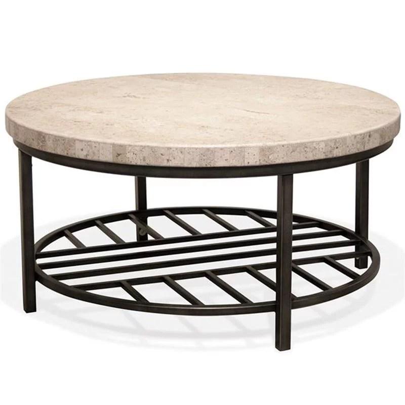 riverside furniture capri 36 round stone top coffee table walmart com