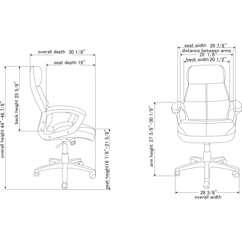 diagram of pneumatic office chair ge ecm 2 3 motor wiring lorell llr59533 luxury high back leather 1 each black walmart com