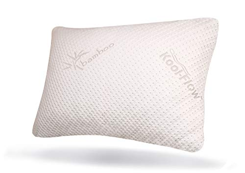 snuggle pedic ultra luxury bamboo shredded memory foam pillow combination with adjustable fit and zipper removable kool flow breathable cooling