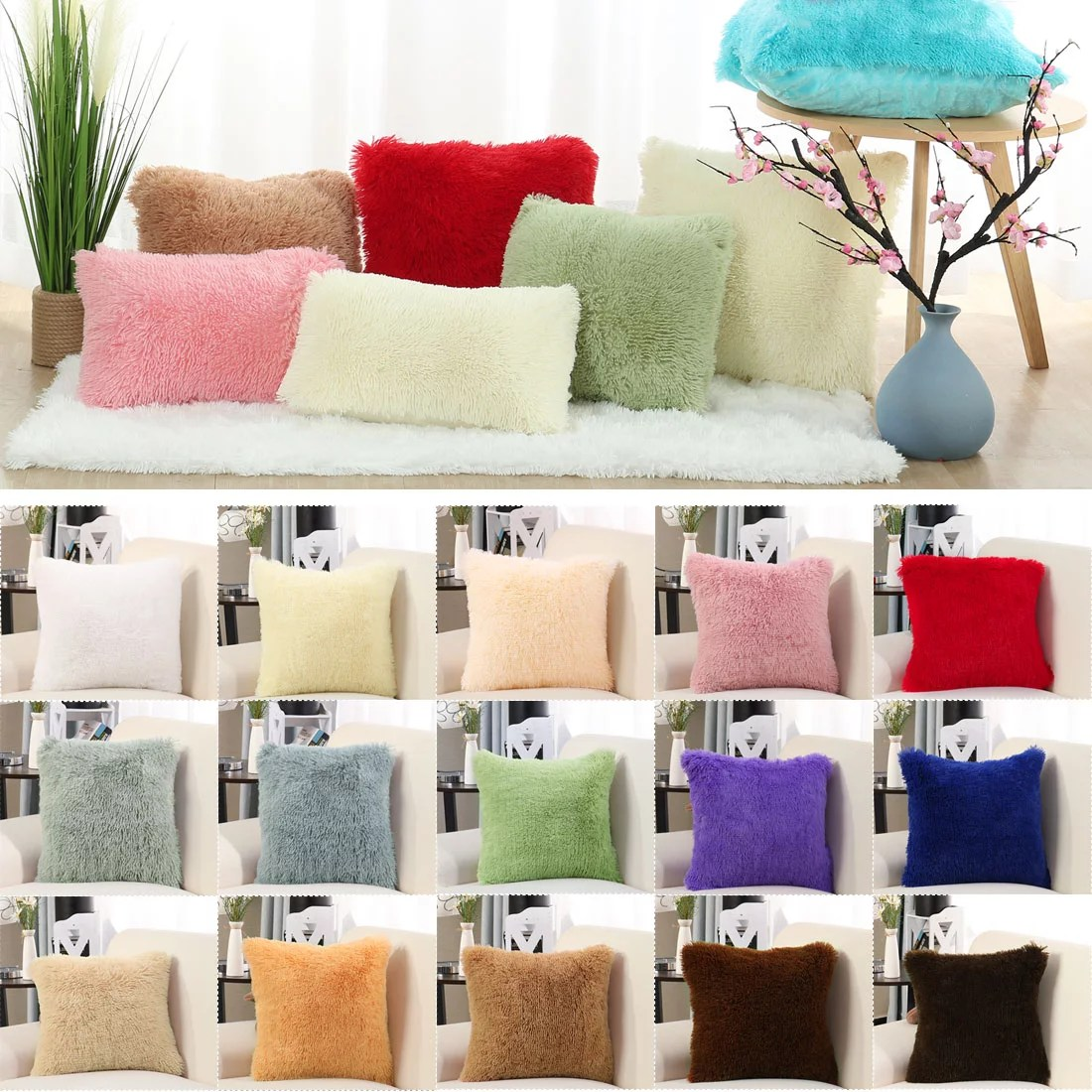 piccocasa polyester modern solid square decorative cushion covers 20 x20 snow white