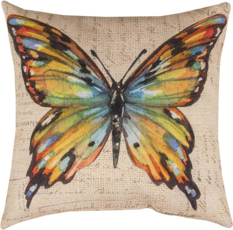 18 brown and yellow butterfly square throw pillow