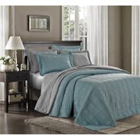 3pcs Kingston Oversized Quilted Bedspread Set, King Blue ...