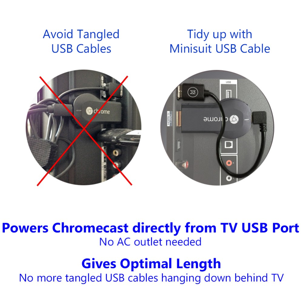 medium resolution of minisuit micro usb 8 cable for google chromecast fire roku walmart com