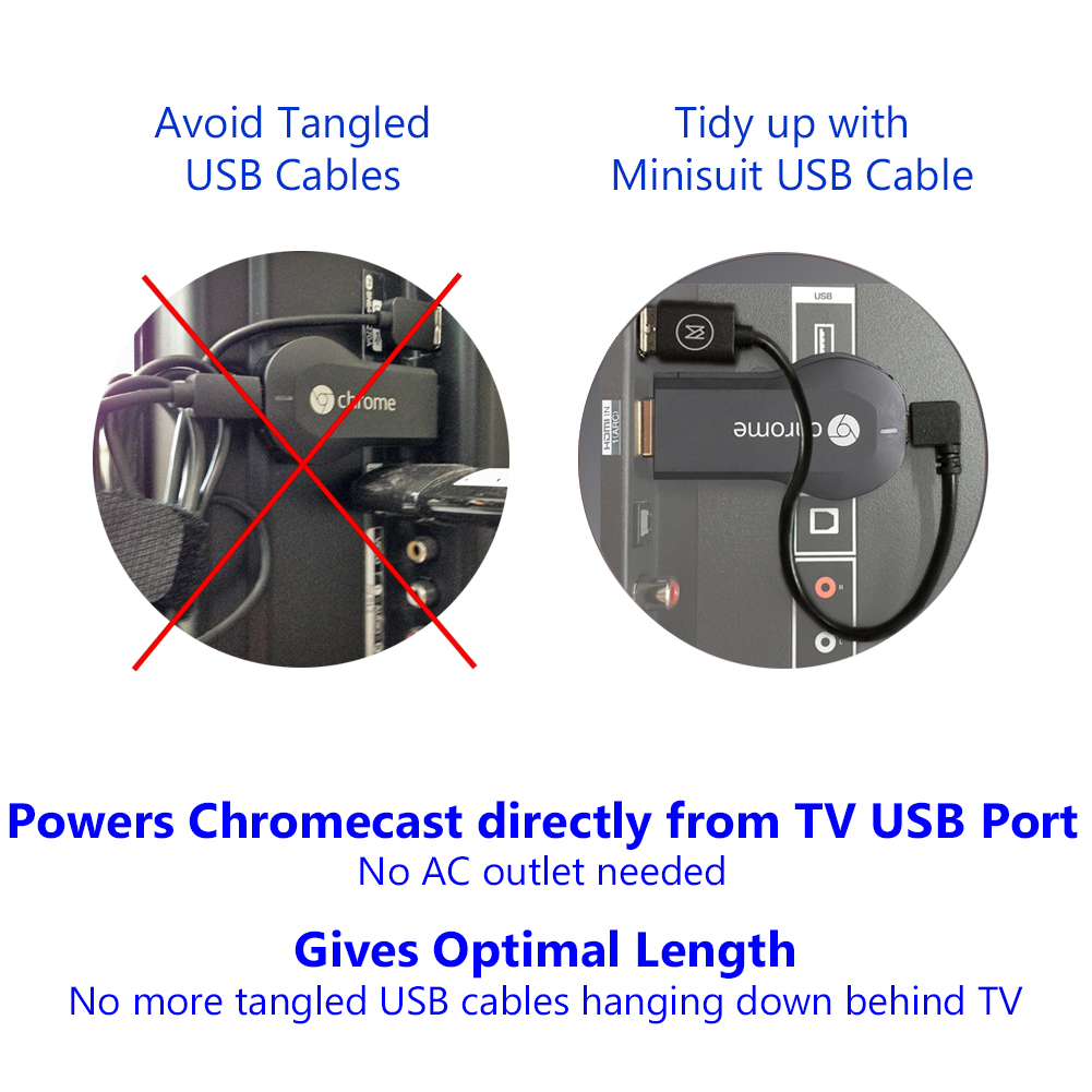 hight resolution of minisuit micro usb 8 cable for google chromecast fire roku walmart com