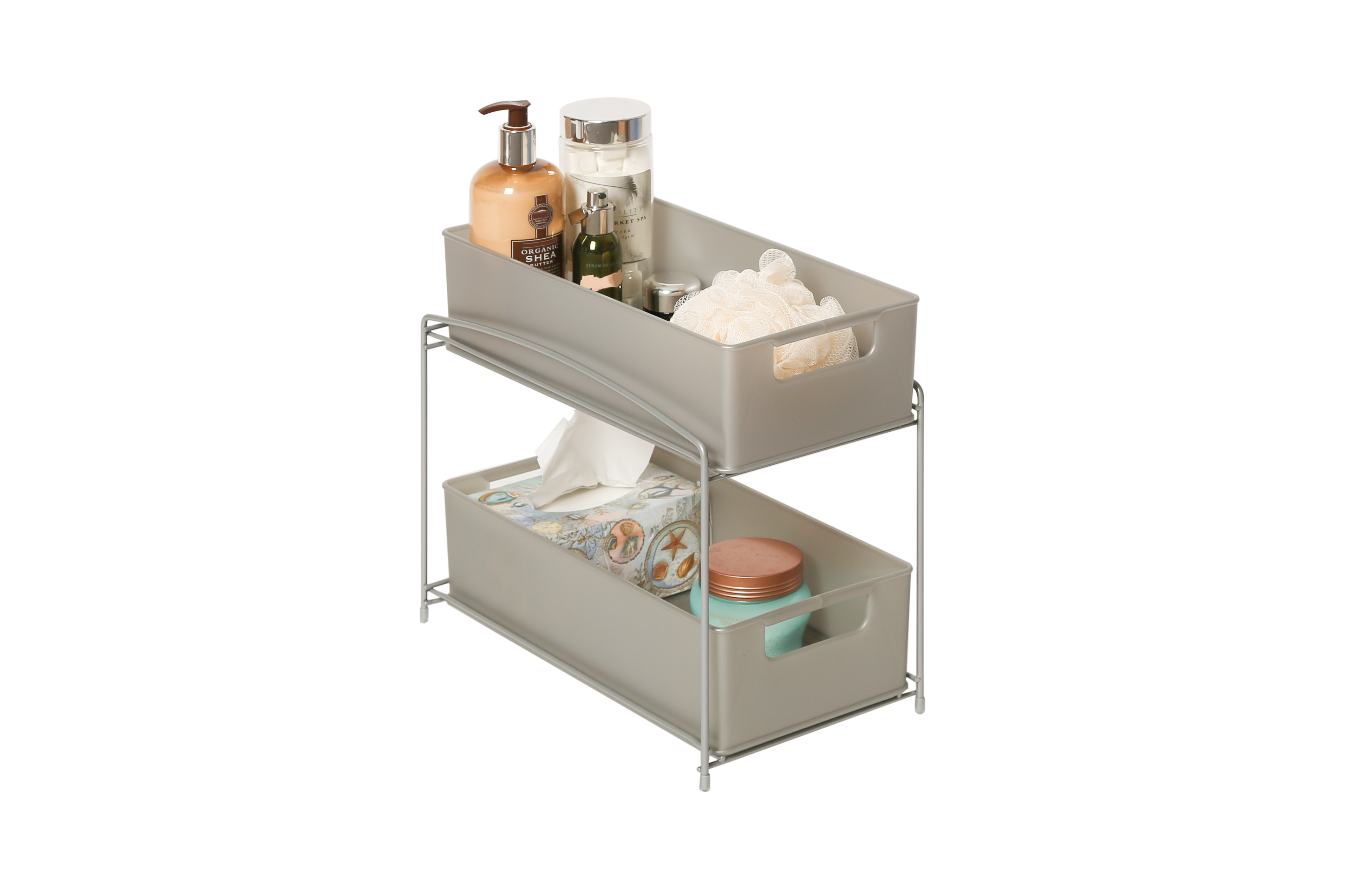 two tier kitchen drawer organizer small counter lamps seville classics 2 pull out sliding