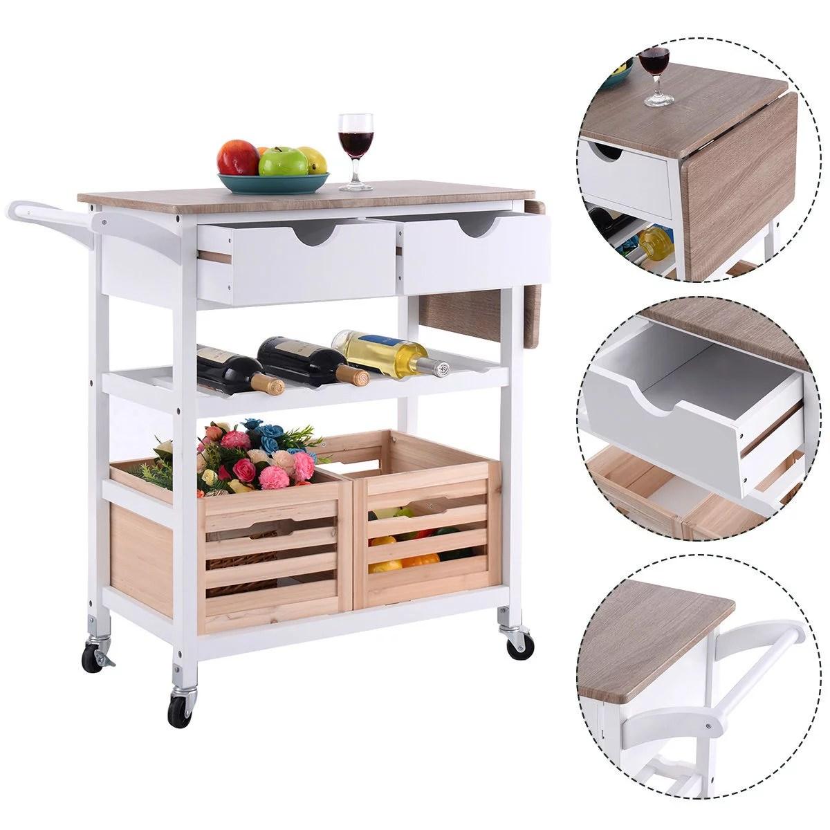 rolling island kitchen aid professional islands carts walmart com product image costway trolley cart drop leaf w storage drawer basket wine rack