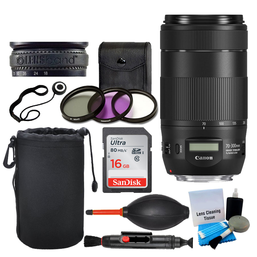 Canon EF 70-300mm f/4-5.6 IS II USM Lens + Lens Pouch + 16GB Card + UV Filters