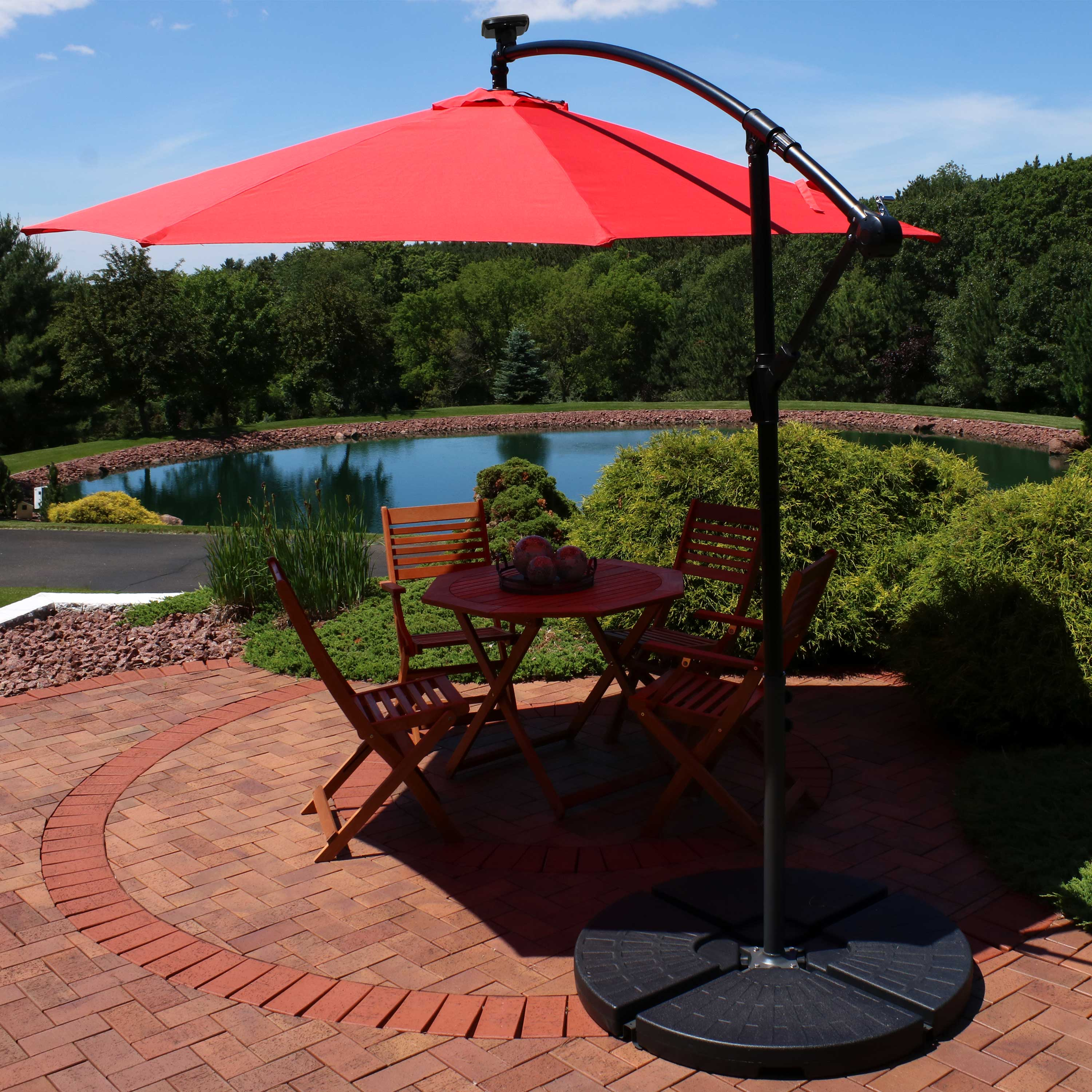 sunnydaze outdoor cantilever offset patio umbrella with solar led lights outside waterproof polyester shade steel pole air vent cross base and