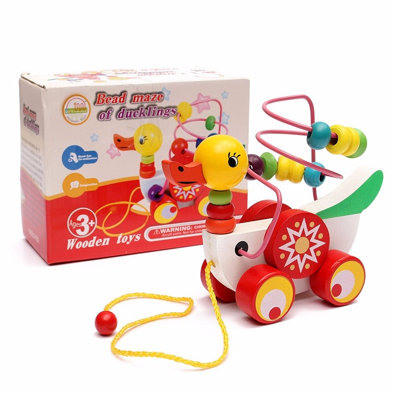 Meigar Wooden Duck Trailer Around Beads Educational Game