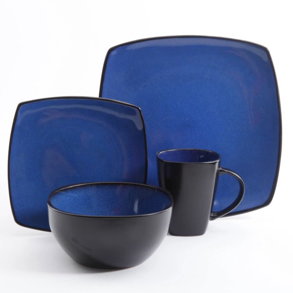 Gibson Home Soho Lounge Square 16-piece Dinnerware Set Kitchen Dining Room Blue