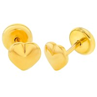 18k Yellow Gold Plated Small Plain Heart Safety Stud Baby ...