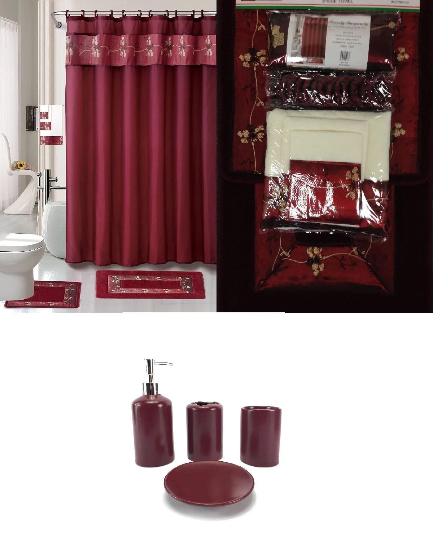 22 piece bath accessory set burgundy red bath rug set shower curtain accessories walmart com