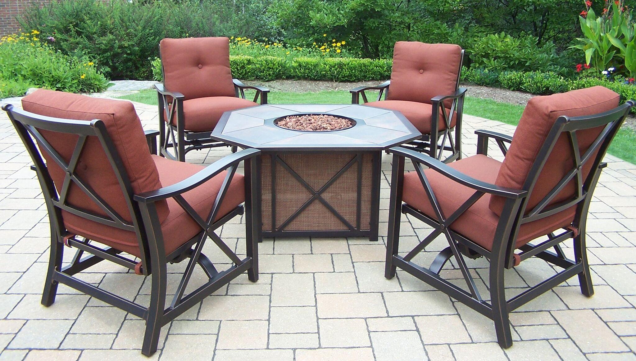 5-piece brown aluminum outdoor