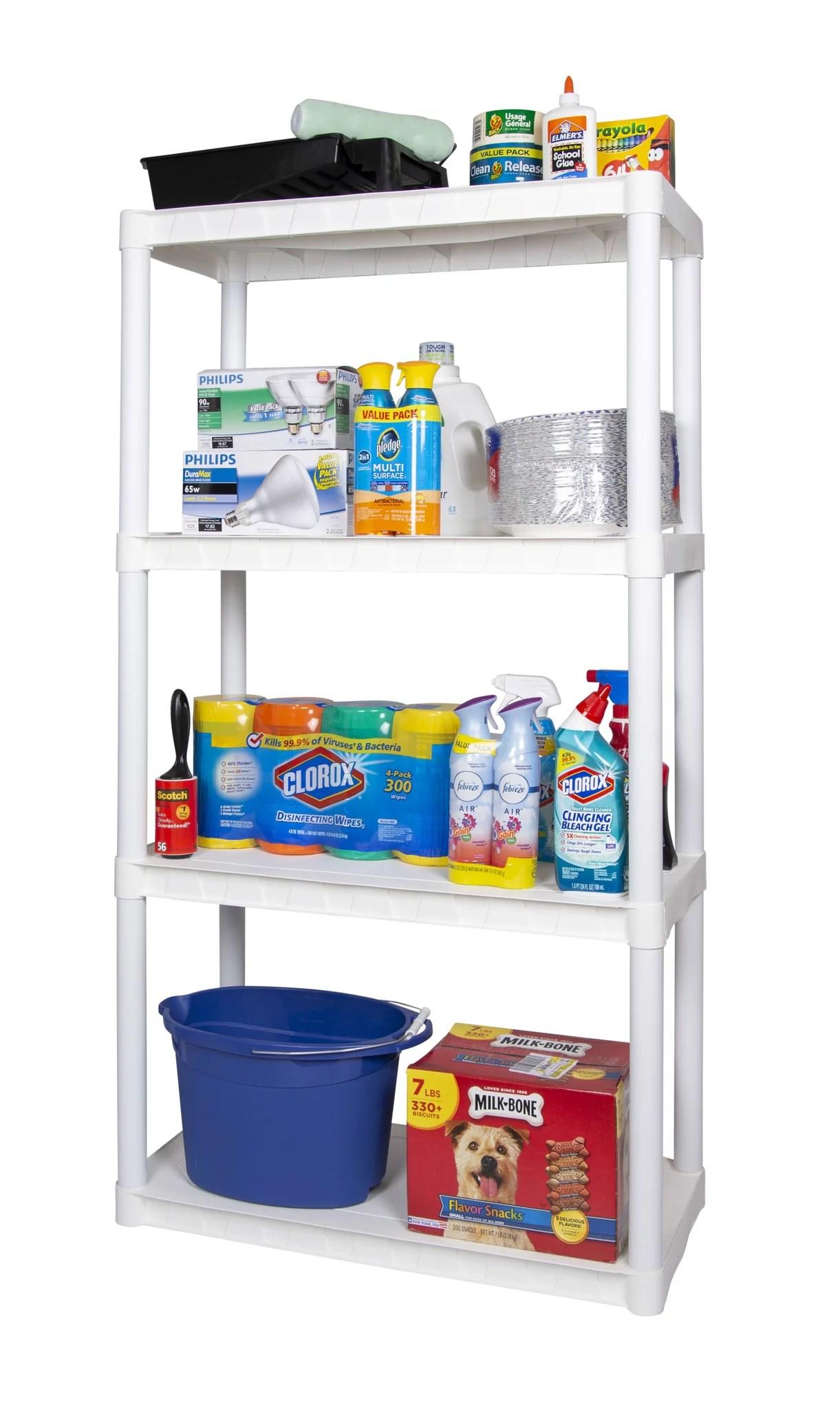 plano 30 w x 14 d x 55 5 h 4 shelf solid plastic shelf unit white 280 lb capacity walmart com