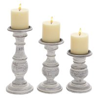 Short And Sweet Wooden Candle Holder Set Of Three In White ...