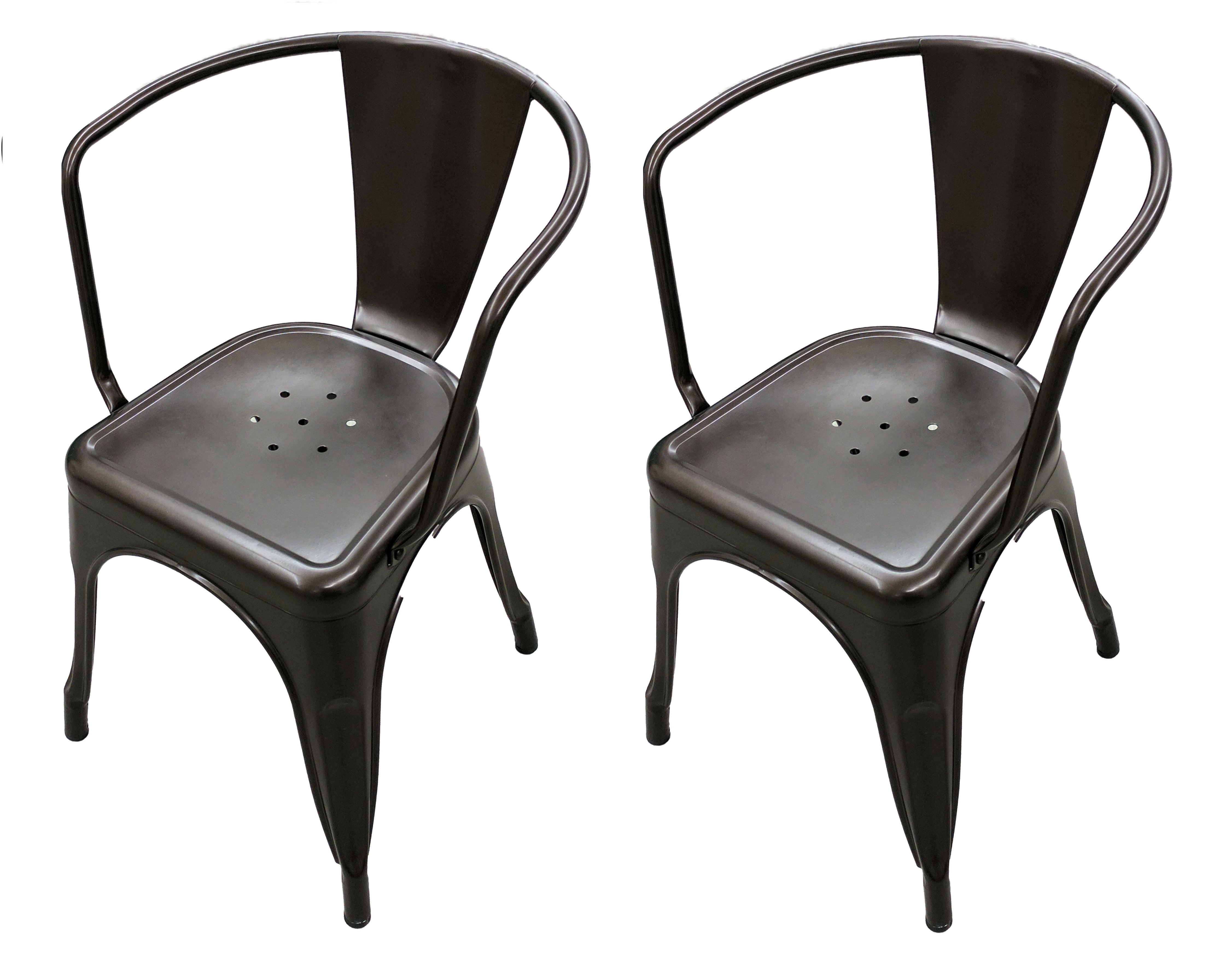 Titan Chair Titan Set Of 2 Bronze Stamped Metal Stacking Chair