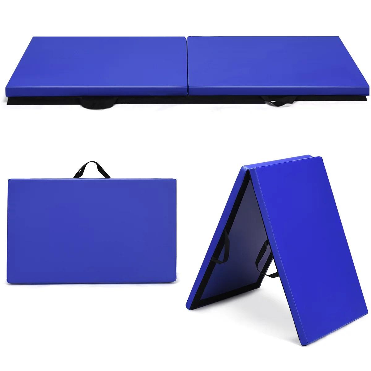 costway matelas gymnastique pliant 180 x 60 x 3 8 cm tapis de gymnastique pliable natte de gym tapis pliable bleu joint portable