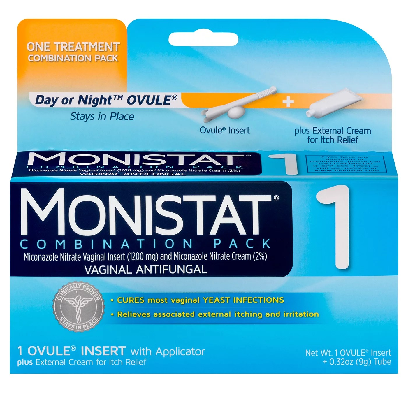 Monistat 1-Day Yeast Infection Treatment Ovule + External ...