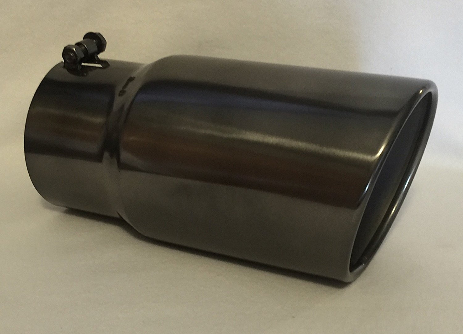 5 inlet x 6 outlet x 12 long rolled edge black chrome diesel exhaust tail pipe tip bolt on