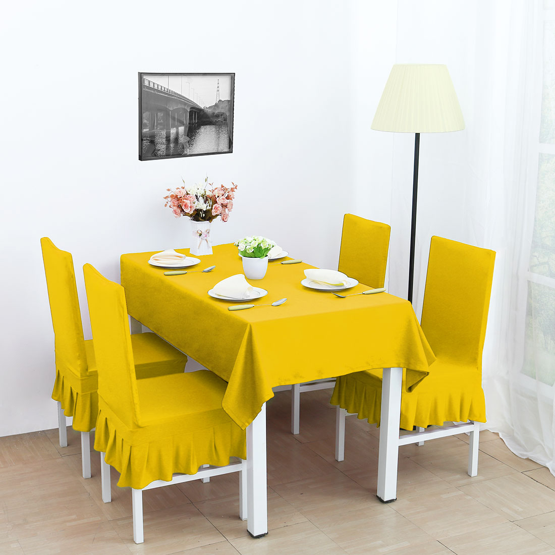 yellow chair covers chaise lawn chairs stretchy spandex ruffled skirt short dining room