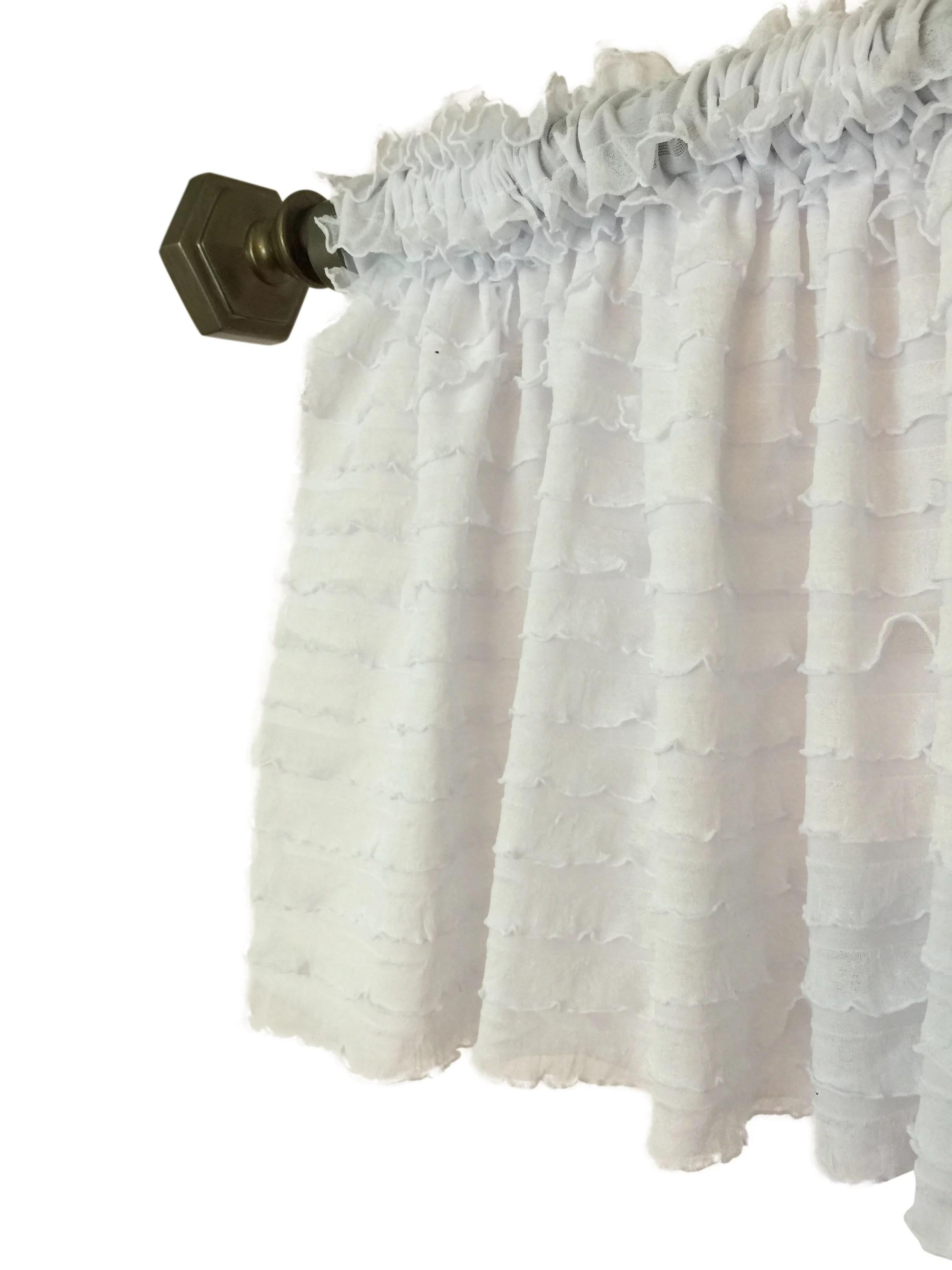 white ruffle valance sheer curtain window treatment for home decor kitchen nursery office bedroom