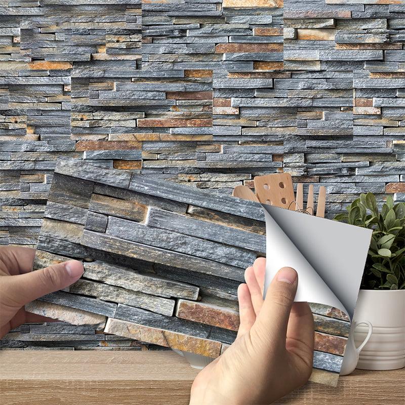goory self adhesive vinyl flooring tiles waterproof peel and stick tiles wall stickers for home decor gray wood grain