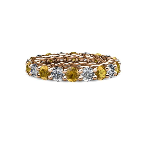 Citrine And Diamond 3.8mm Eternity Band 3.24-3.80