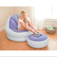 Intex Inflatable Chair And Ottoman Silver Velvet Dining Chairs Cafe Chaise Lounge + Ottoman, Lilac Purple | 68572e-p - Walmart.com