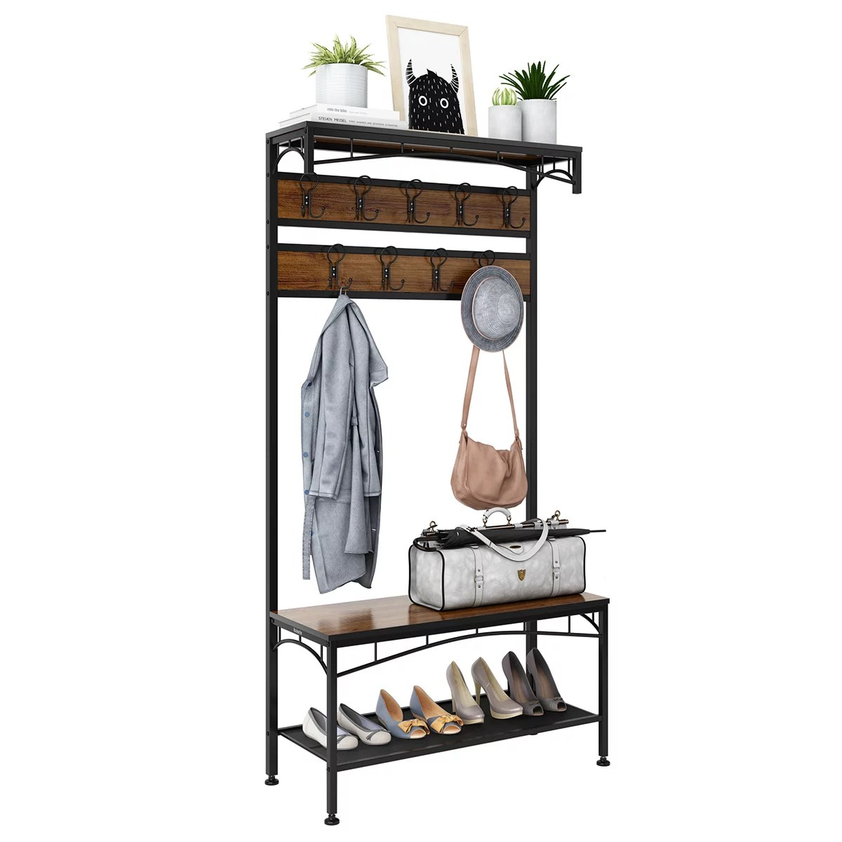 3 in 1 entryway coat rack rackaphile vintage metal and wood hall tree with storage bench shoe rack entryway storage shelf organizer with 18 hooks