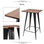 Home Modern Bar Table Rustic Farmhouse Metal Sturdy Bistro Table With Metal Legs 40 Height Bar Table For Home Kitchens Dining Rooms Cafe Conversation Patio 264 5lbs Brown S6704 Walmart Com Walmart Com